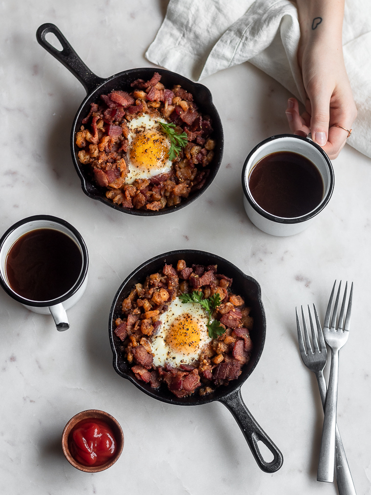Bacon Hash with Runny Eggs & Harissa
