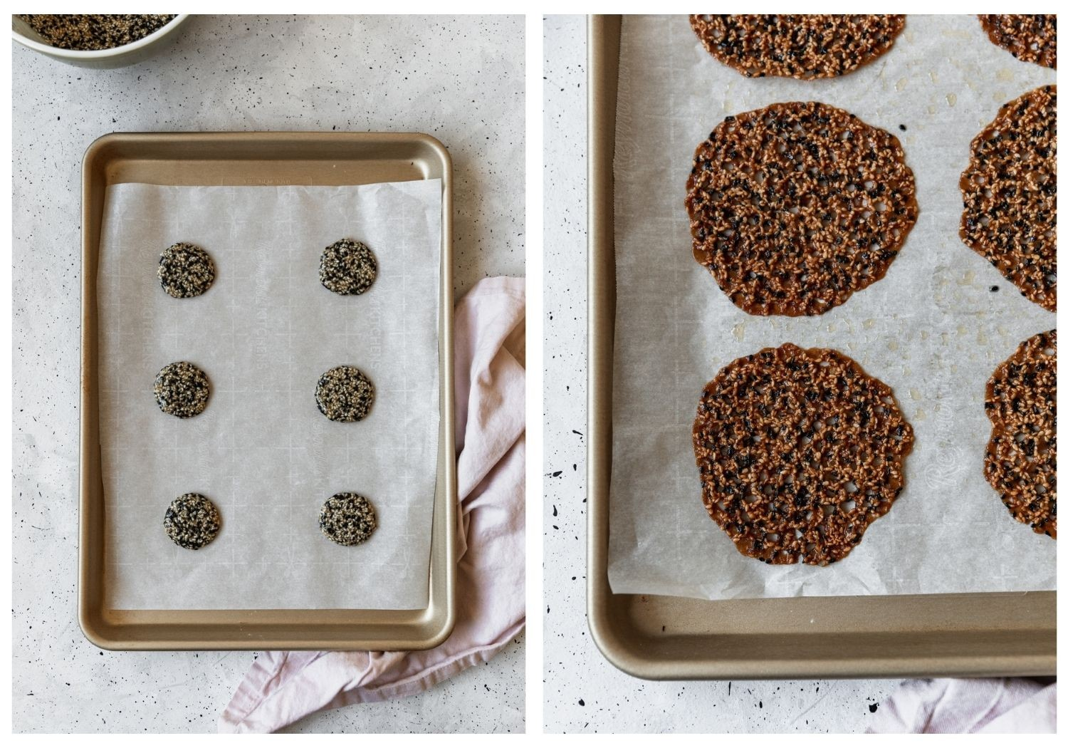 Two overhead images; on the left, a sheetpan is filled with balls of cookie dough. On the right is a closeup of baked Florentine cookies.